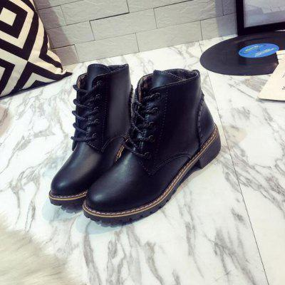 2017 Autumn And Winter Lace-Up BootsWomens Boots<br>2017 Autumn And Winter Lace-Up Boots<br><br>Boot Height: Ankle<br>Boot Type: Fashion Boots<br>Closure Type: Lace-Up<br>Gender: For Women<br>Heel Type: Others<br>Package Contents: 1 x Shoes?Pair?<br>Pattern Type: Solid<br>Season: Spring/Fall, Winter<br>Toe Shape: Round Toe<br>Upper Material: PU<br>Weight: 1.1200kg