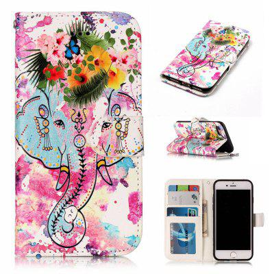 Flower Like Varnish Relief Pu Phone Case for Iphone 8 / 7