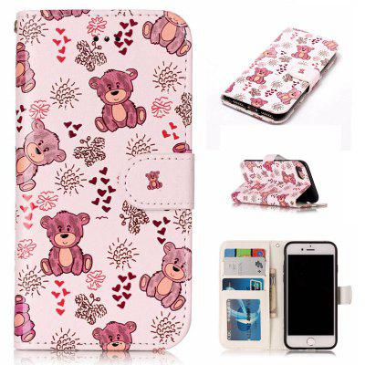 Bear Varnish Relief Pu Phone Case for Iphone 8 / 7