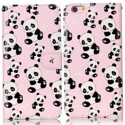 Panda Varnish Relief Pu Phone Case for Iphone 6S Plus / 6 Plus icarer wallet genuine leather phone stand cover for iphone 6s plus 6 plus marsh camouflage