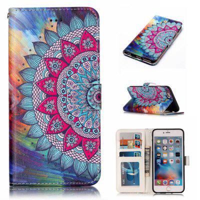 Half Flowers Varnish Relief Pu Phone Case for Iphone 6S Plus / 6 Plus