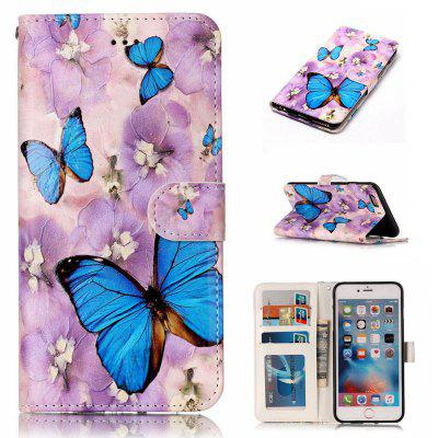 Purple Flower Butterfly Varnish Relief Pu Phone Case for Iphone 6S Plus / 6 Plus