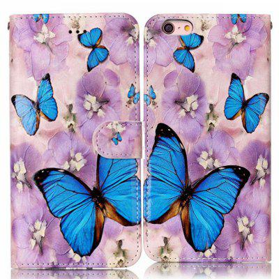Purple Flower Butterfly Varnish Relief Pu Phone Case for Iphone 6S Plus / 6 Plus icarer wallet genuine leather phone stand cover for iphone 6s plus 6 plus marsh camouflage