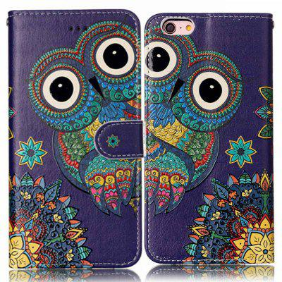 National Wind Owl Varnish Relief Pu Phone Case for Iphone 6S Plus / 6 Plus icarer wallet genuine leather phone stand cover for iphone 6s plus 6 plus marsh camouflage