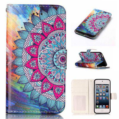Half Flowers Varnish Relief Pu Phone Case for Ipod Touch5 / 6