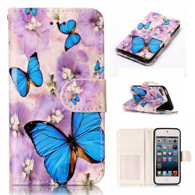 Purple Flower Butterfly Varnish Relief Pu Phone Case for Ipod Touch5 / 6
