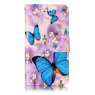 Purple Flower Butterfly Varnish Relief Pu Phone Case for Ipod Touch5 / 6 butterfly bling diamond case