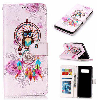 Wind Chimes Owl Varnish Relief Pu Phone Case for Samsung Galaxy Note 8