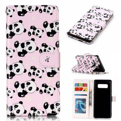 Panda Varnish Relief Pu Phone Case for Samsung Galaxy Note 8
