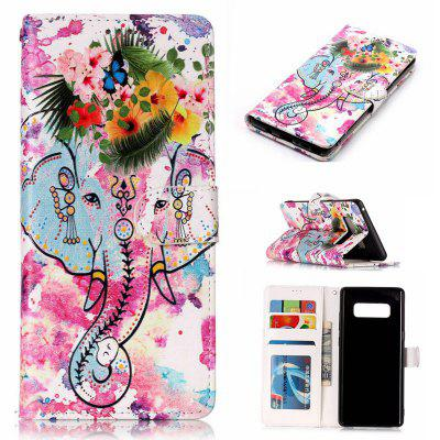Flower Like Varnish Relief Pu Phone Case for Samsung Galaxy Note 8