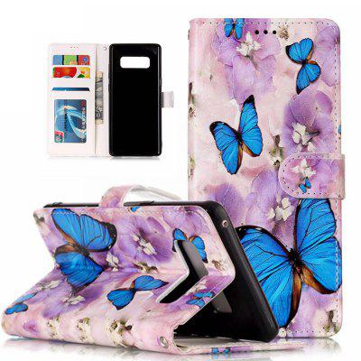 Purple Flower Butterfly Varnish Relief Pu Phone Case for Samsung Galaxy Note 8 butterfly bling diamond case