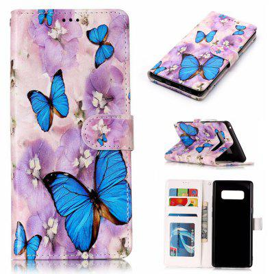 Purple Flower Butterfly Varnish Relief Pu Phone Case for Samsung Galaxy Note 8