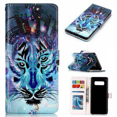 Wolf Varnish Relief Pu Phone Case for Samsung Galaxy Note 8