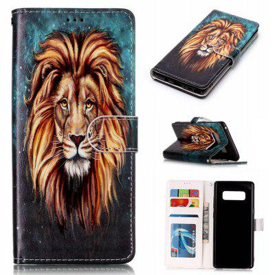 Lion Varnish Relief Pu Phone Case for Samsung Galaxy Note 8