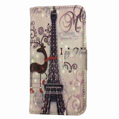 Tower And Plum Blossom Deer Painted Pu Phone Case for Samsung Galaxy S6