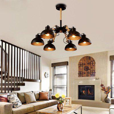 Buy BLACK Lanshi 6 Light Vintage Style Large Metal And Wooden Chandelier Black Finish for $207.70 in GearBest store