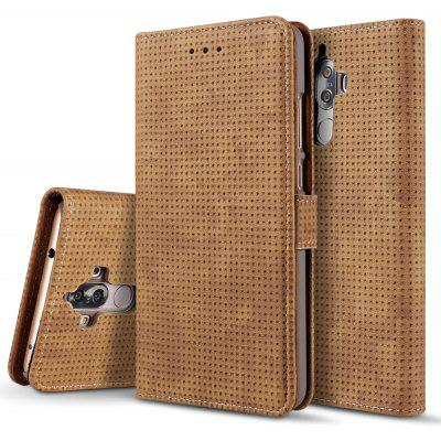 Wkae Retro Matte Breatheable Air-mesh PU Leather Wallet Case Cover with Kickstand Card Slots for Huawei Mate 9