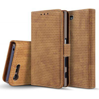Wkae Retro Matte Breatheable Air-mesh PU Leather Wallet Case Cover with Kickstand Card Slots for Sony Xperia X Compact