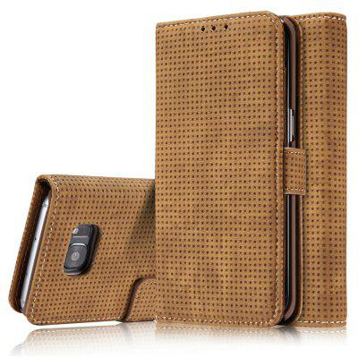 Wkae Retro Matte Breatheable Air-mesh PU Leather Wallet Case Cover with Kickstand Card Slots for Samsung Galaxy S7