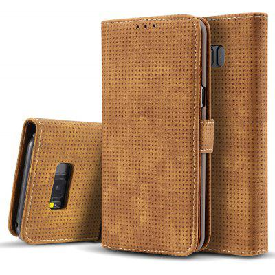 Wkae Retro Matte Breatheable Air-mesh PU Leather Wallet Case Cover with Kickstand Card Slots for Samsung Galaxy S8 Plus