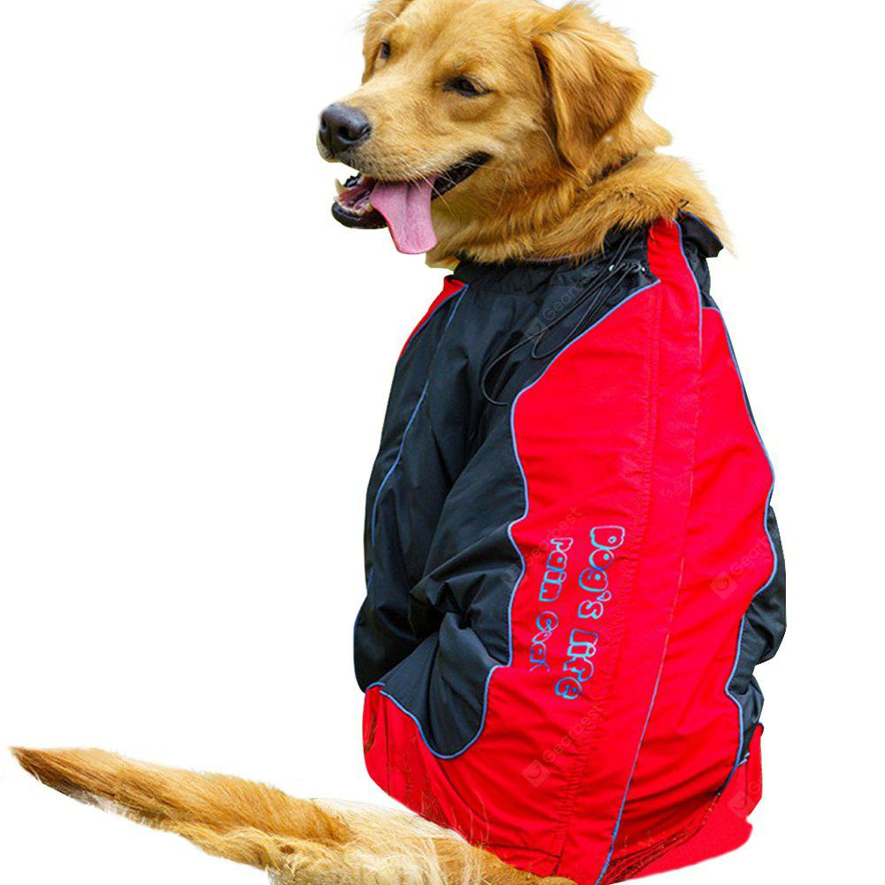 Water-Resistant Reflective Dog Rain Coat 2XL BLACK RED