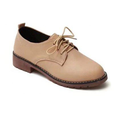 Low Shallow Womens Lace Ups Round Head Shoes Flat Casual Shoes