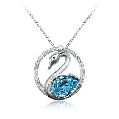 Veecans Blue Swan Lake Pendant Necklace Crystal Necklace