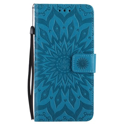 Buy BLUE Sun Flower Printing Design Pu Leather Flip Wallet Lanyard Protective Case for Iphone 8 Plus, 2017 for $4.62 in GearBest store