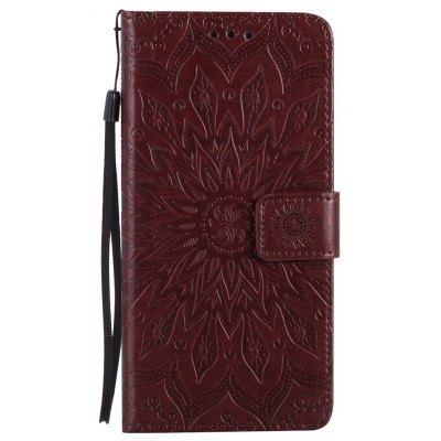 Buy BROWN Sun Flower Printing Design Pu Leather Flip Wallet Lanyard Protective Case for Iphone 8 Plus, 2017 for $4.62 in GearBest store