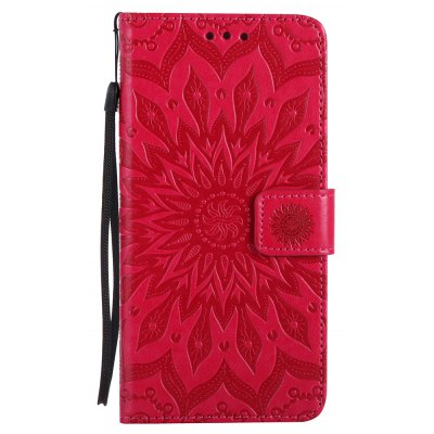 Buy RED Sun Flower Printing Design Pu Leather Flip Wallet Lanyard Protective Case for Iphone 7 Plus for $4.62 in GearBest store