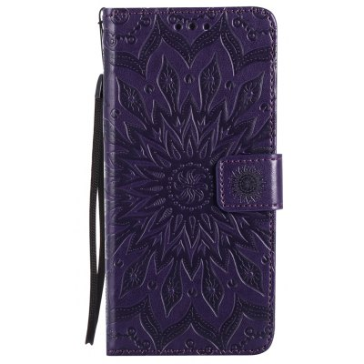 Buy PURPLE Sun Flower Printing Design Pu Leather Flip Wallet Lanyard Protective Case for Iphone 7 Plus for $4.62 in GearBest store