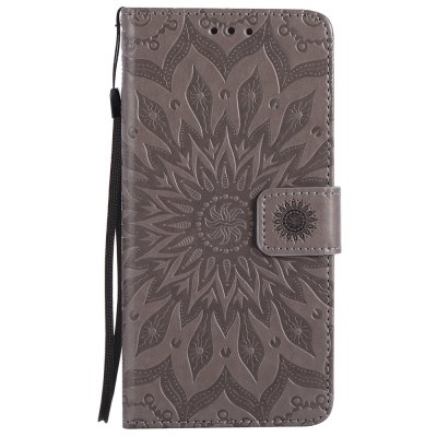 Buy GRAY Sun Flower Printing Design Pu Leather Flip Wallet Lanyard Protective Case for Iphone 7 Plus for $4.62 in GearBest store