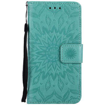 Buy GREEN Sun Flower Printing Design Pu Leather Flip Wallet Lanyard Protective Case for Iphone 7 for $4.42 in GearBest store