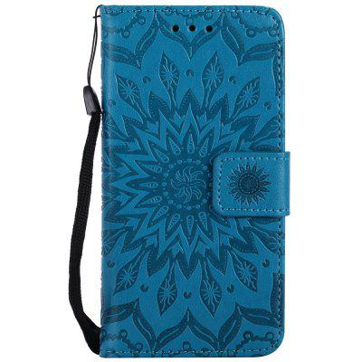 Buy BLUE Sun Flower Printing Design Pu Leather Flip Wallet Lanyard Protective Case for Iphone 7 for $4.42 in GearBest store