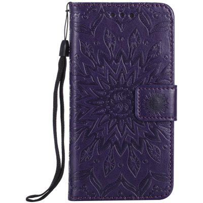 Buy PURPLE Sun Flower Printing Design Pu Leather Flip Wallet Lanyard Protective Case for Iphone 7 for $4.42 in GearBest store