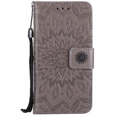 Buy GRAY Sun Flower Printing Design Pu Leather Flip Wallet Lanyard Protective Case for Iphone 7 for $4.42 in GearBest store
