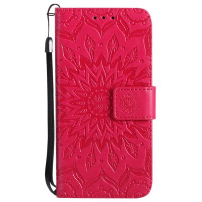 Buy RED Sun Flower Printing Design Pu Leather Flip Wallet Lanyard Protective Case for Iphone x for $4.42 in GearBest store