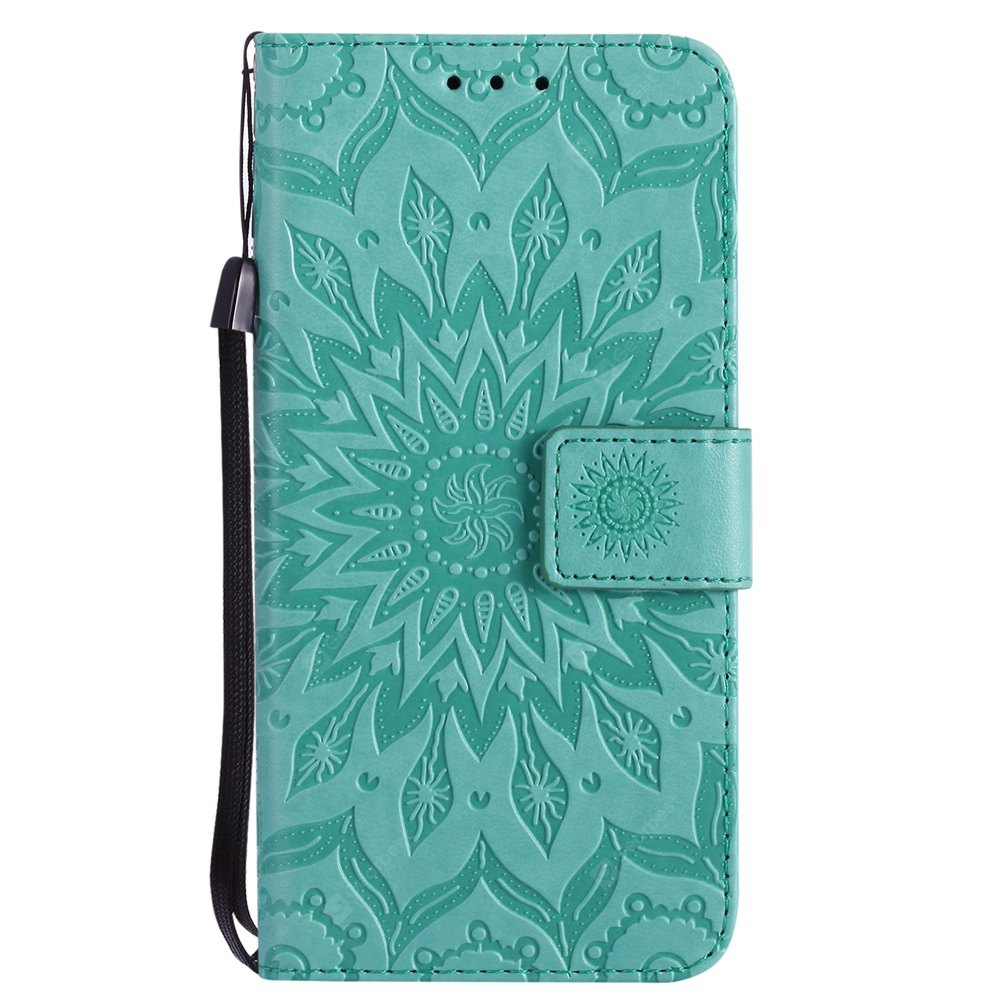 GREEN Sun Flower Printing Design Pu Leather Flip Wallet Lanyard Protective Case for Iphone x