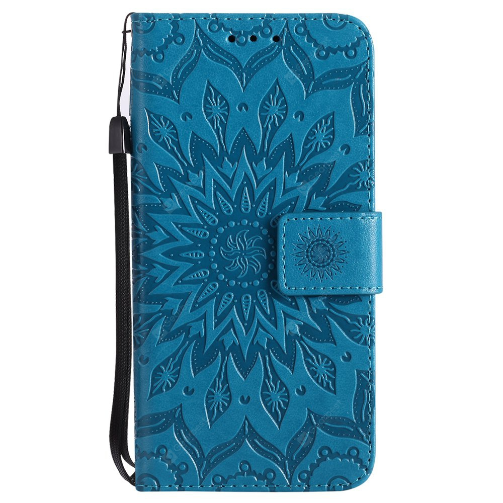 BLUE Sun Flower Printing Design Pu Leather Flip Wallet Lanyard Protective Case for Iphone x