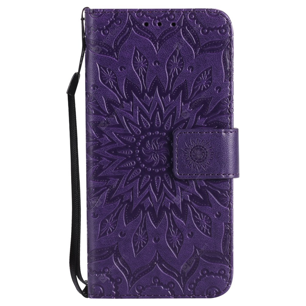 PURPLE Sun Flower Printing Design Pu Leather Flip Wallet Lanyard Protective Case for Iphone x