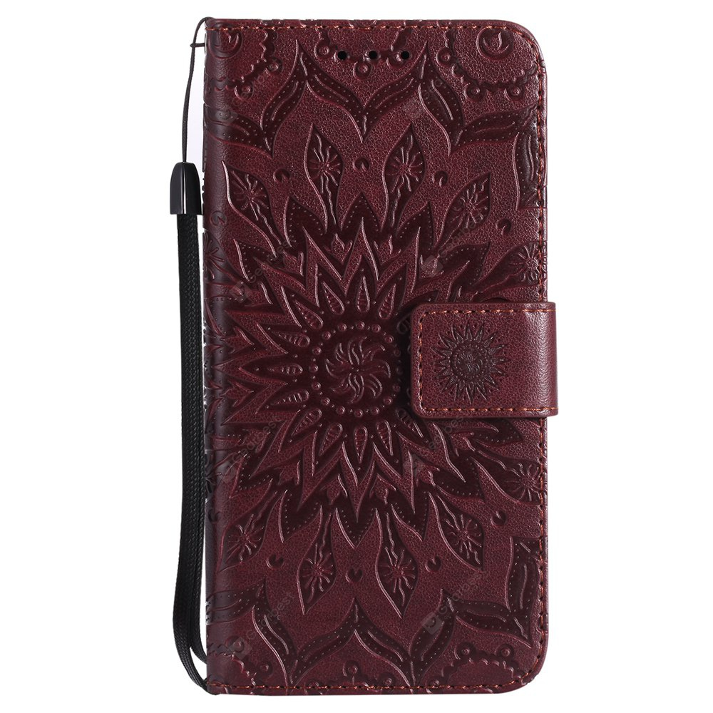 BROWN Sun Flower Printing Design Pu Leather Flip Wallet Lanyard Protective Case for Iphone x