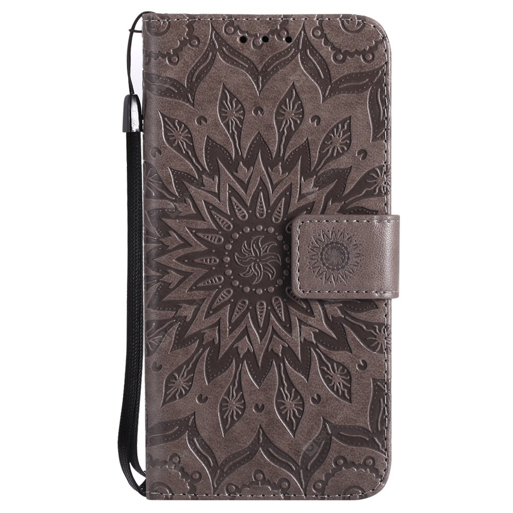 GRAY Sun Flower Printing Design Pu Leather Flip Wallet Lanyard Protective Case for Iphone x