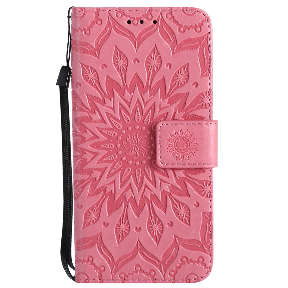 PINK Sun Flower Printing Design Pu Leather Flip Wallet Lanyard Protective Case for Iphone x