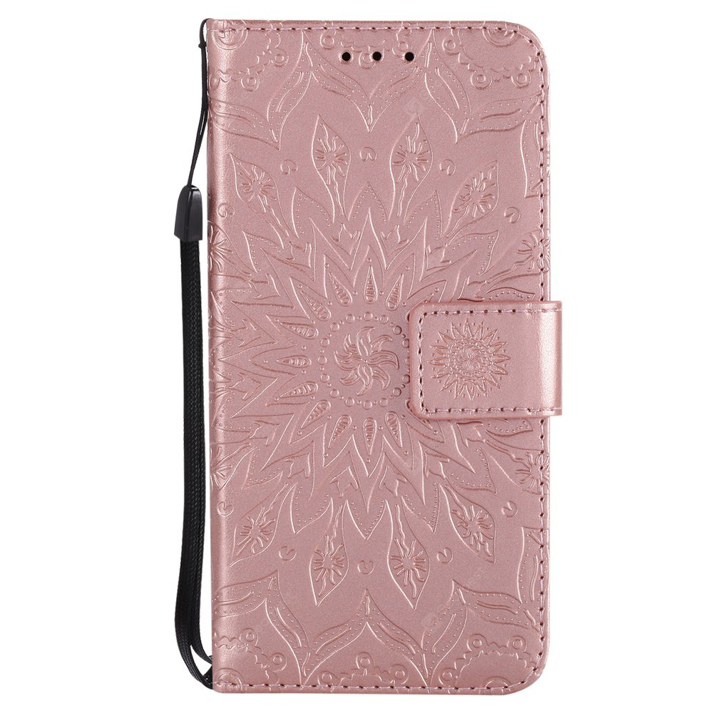 ROSE GOLD Sun Flower Printing Design Pu Leather Flip Wallet Lanyard Protective Case for Iphone x