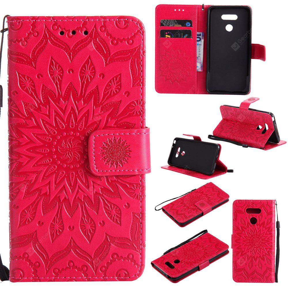 RED Yanxn Sun Flower Printing Design Pu Leather Flip Wallet Lanyard Protective Case for Lg G6