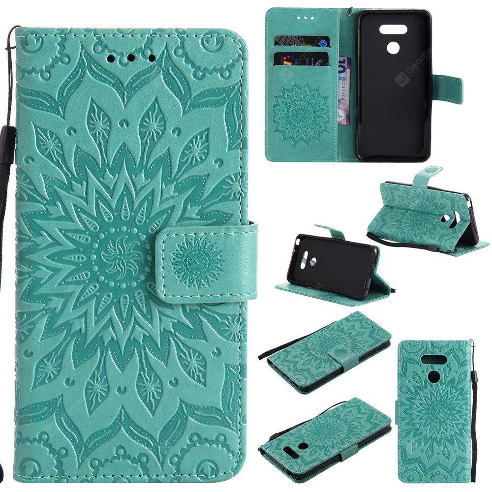 GREEN Yanxn Sun Flower Printing Design Pu Leather Flip Wallet Lanyard Protective Case for Lg G6