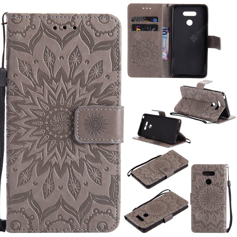 GRAY Yanxn Sun Flower Printing Design Pu Leather Flip Wallet Lanyard Protective Case for Lg G6