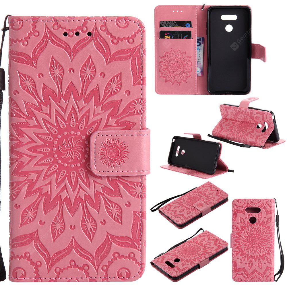 PINK Yanxn Sun Flower Printing Design Pu Leather Flip Wallet Lanyard Protective Case for Lg G6