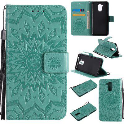 Buy GREEN Yanxn Sun Flower Printing Design Pu Leather Flip Wallet Lanyard Protective Case for HUAWEI Honor 6C for $5.08 in GearBest store
