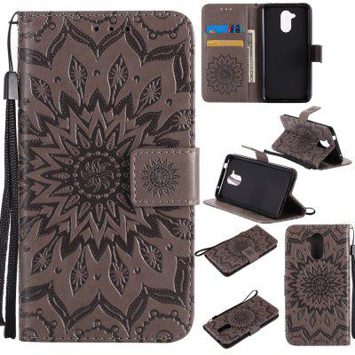 Buy GRAY Yanxn Sun Flower Printing Design Pu Leather Flip Wallet Lanyard Protective Case for HUAWEI Honor 6C for $5.08 in GearBest store